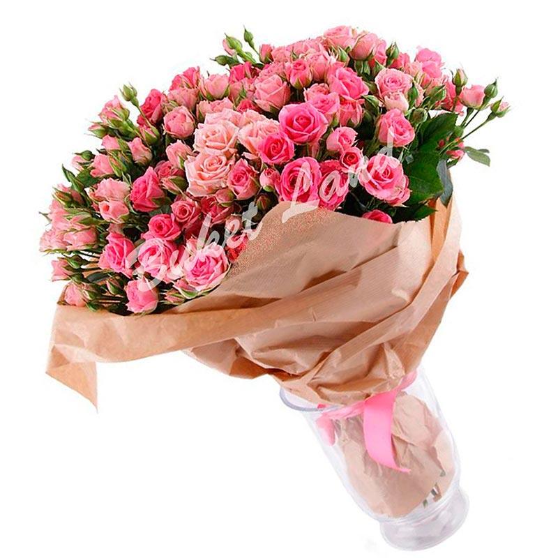 39 розовых роз спрей 60 см