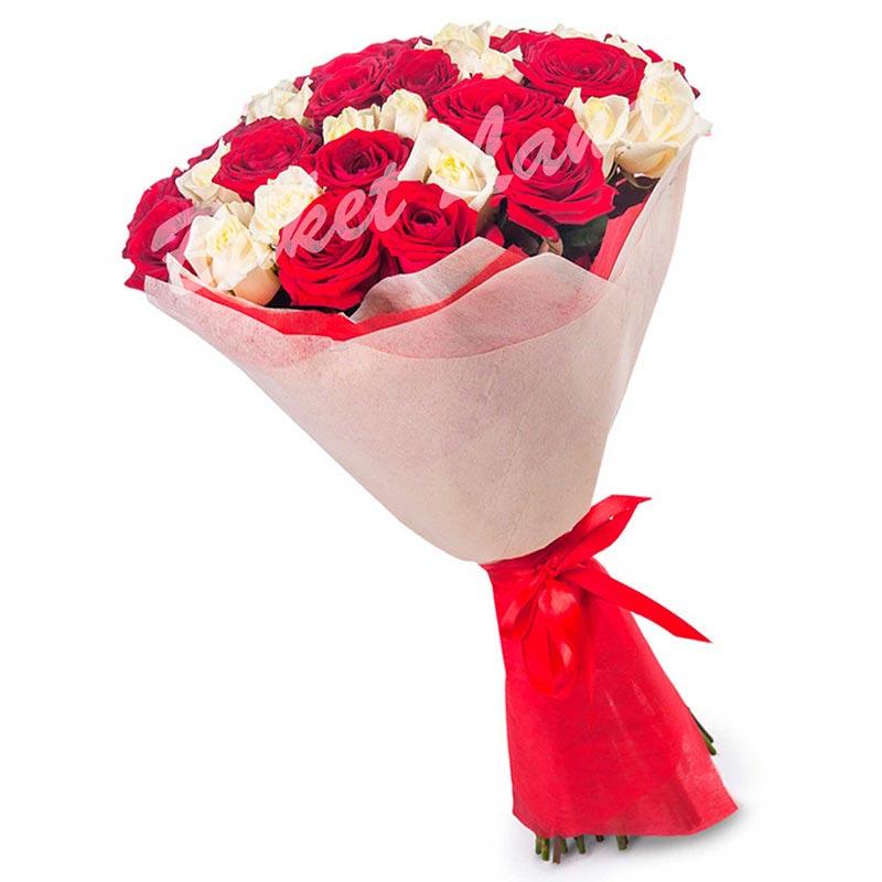 41 роза микс «красно-белая» 60 см