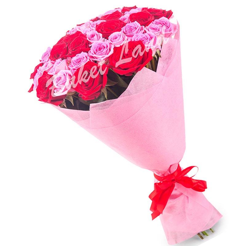 41 роза микс «красно-розовая» 60 см