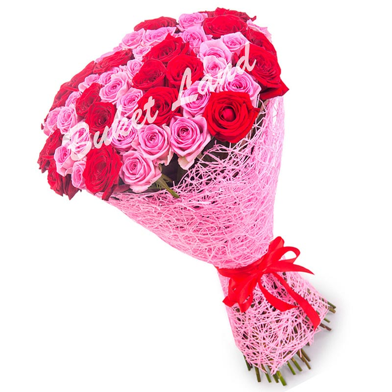 51 роза микс «красно-розовая» 60 см