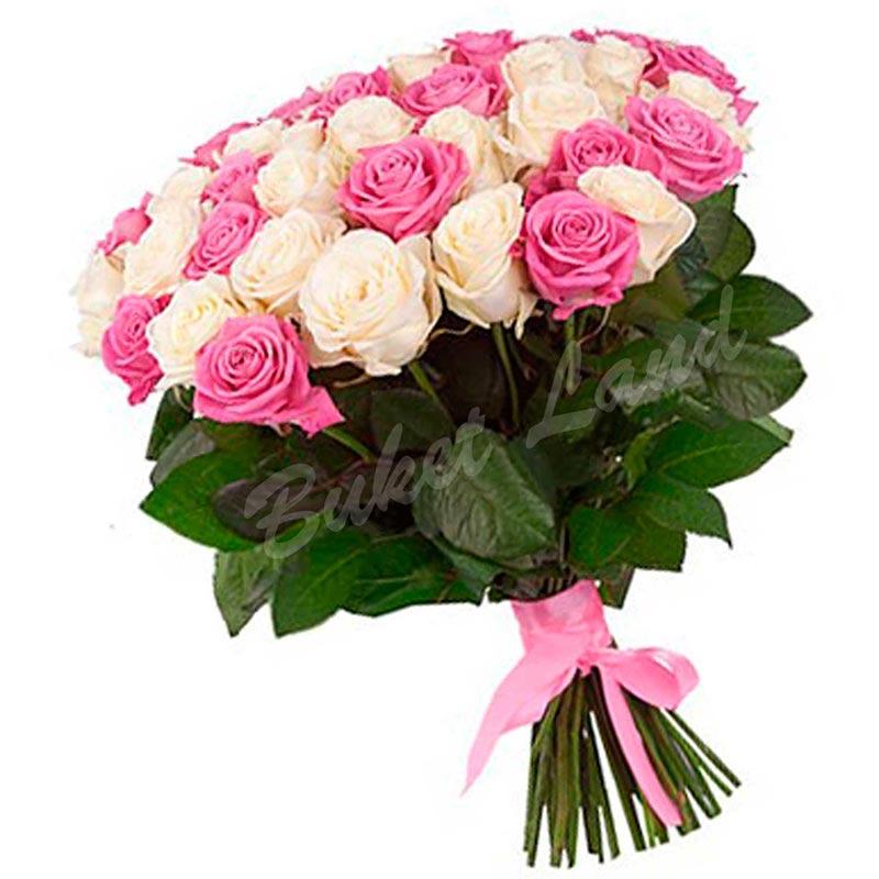 51 роза микс «розово-белая» 60 см