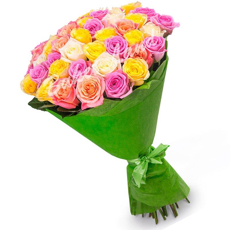 51 роза микс «розово-бело-желто-персиковая» 60 см