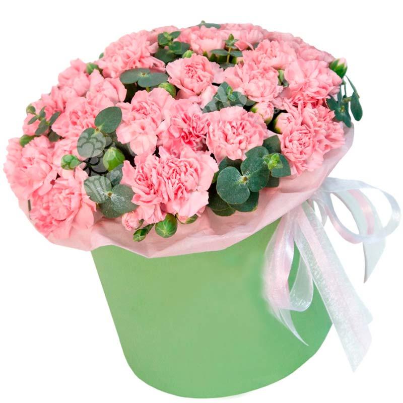 51 розовая гвоздика в шляпной коробке