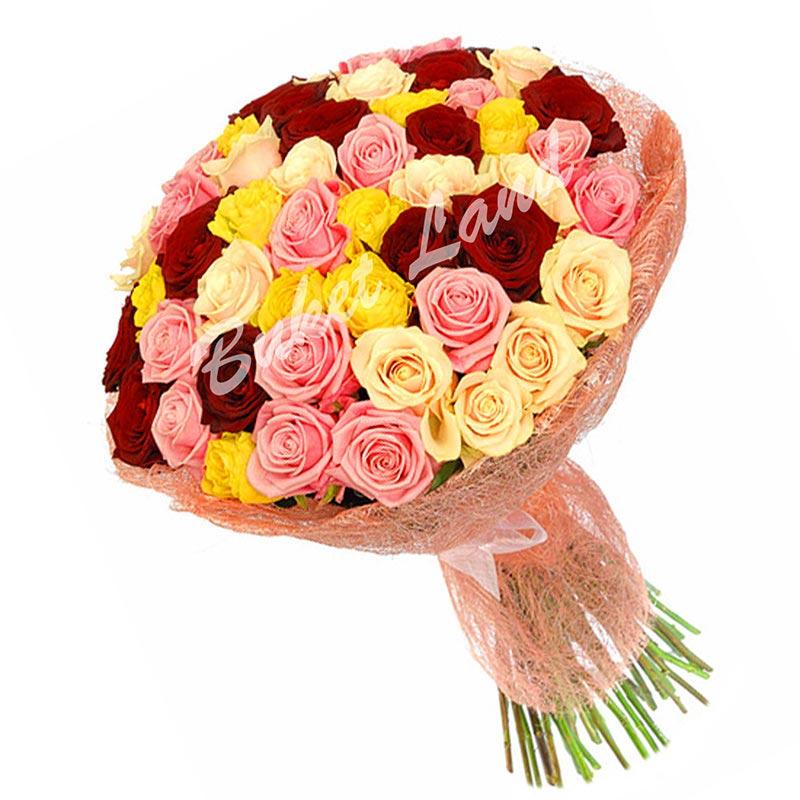 71 роза микс «красно-розово-желто-бежевая» 60 см