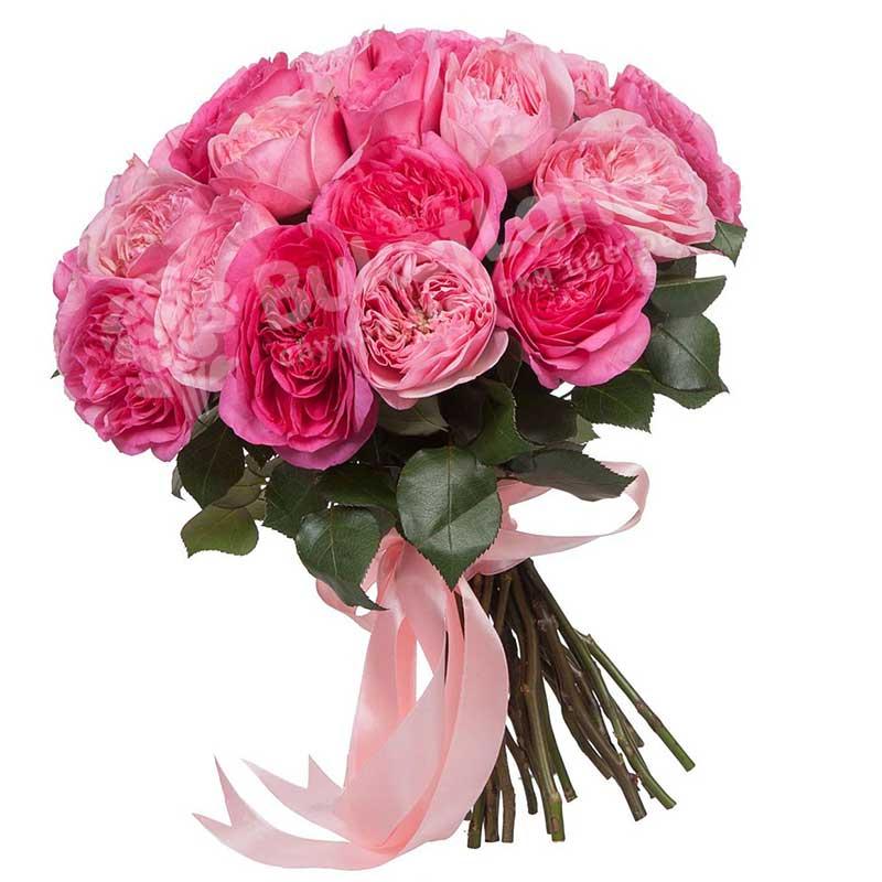 Букет из 21  пионовидной розы