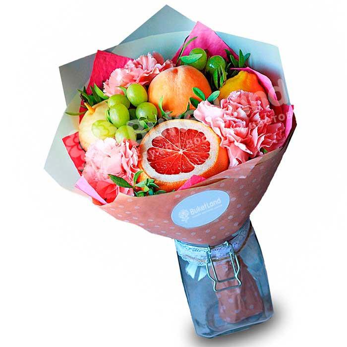 Букет из фруктов и цветов «Кармен» | размер S