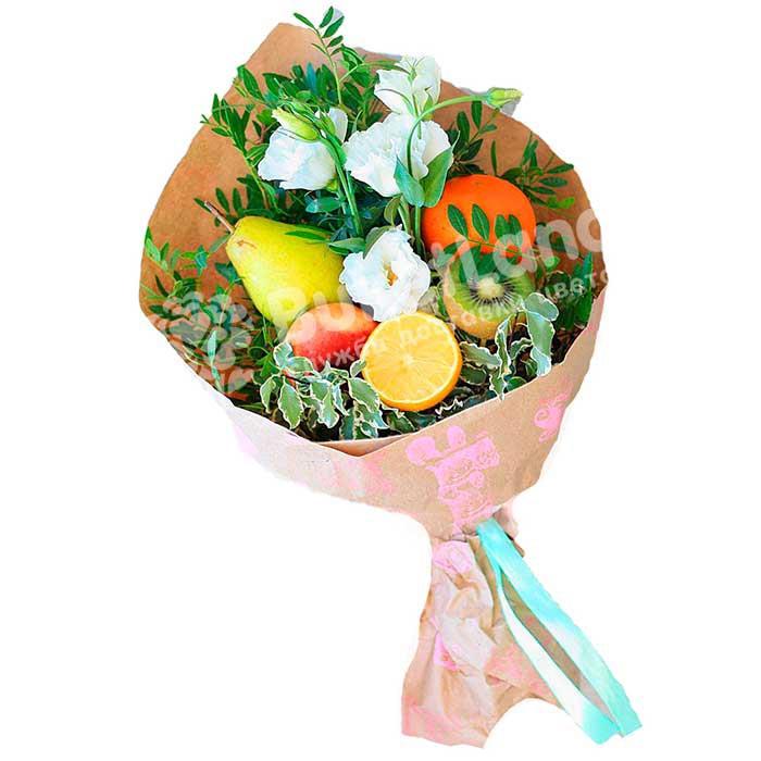 Букет из фруктов и цветов «Презент» | размер S