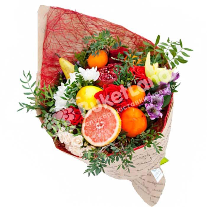Букет из фруктов и цветов «Весенний поцелуй» | размер M
