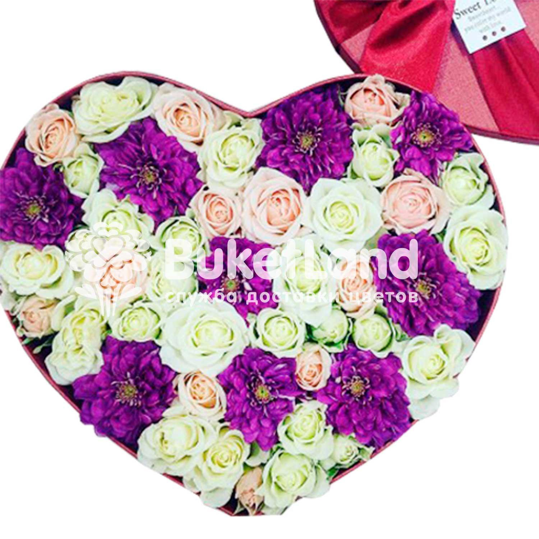 Коробка с цветами в виде сердца 1| размер L
