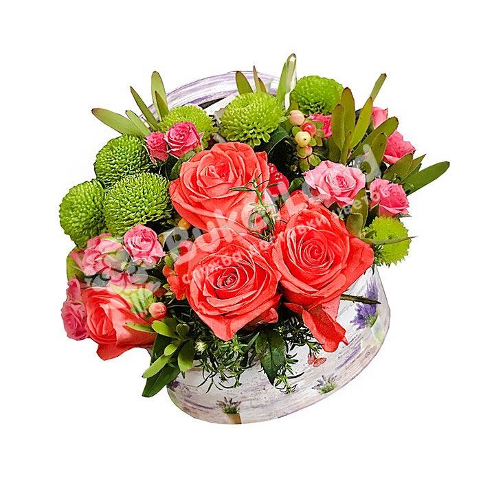 Круглая коробка с цветами 2 | размер S