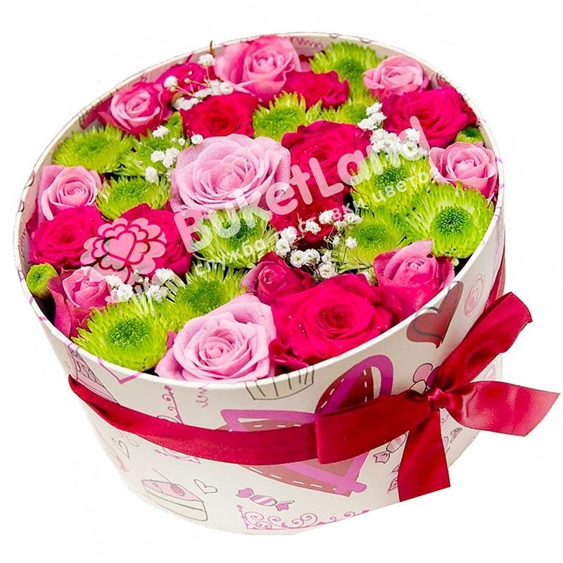 Круглая коробка с цветами | размер М