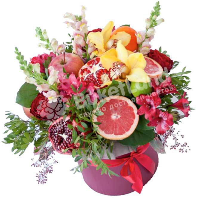 Шляпная коробка с цветами и фруктами «Милана» | размер XL