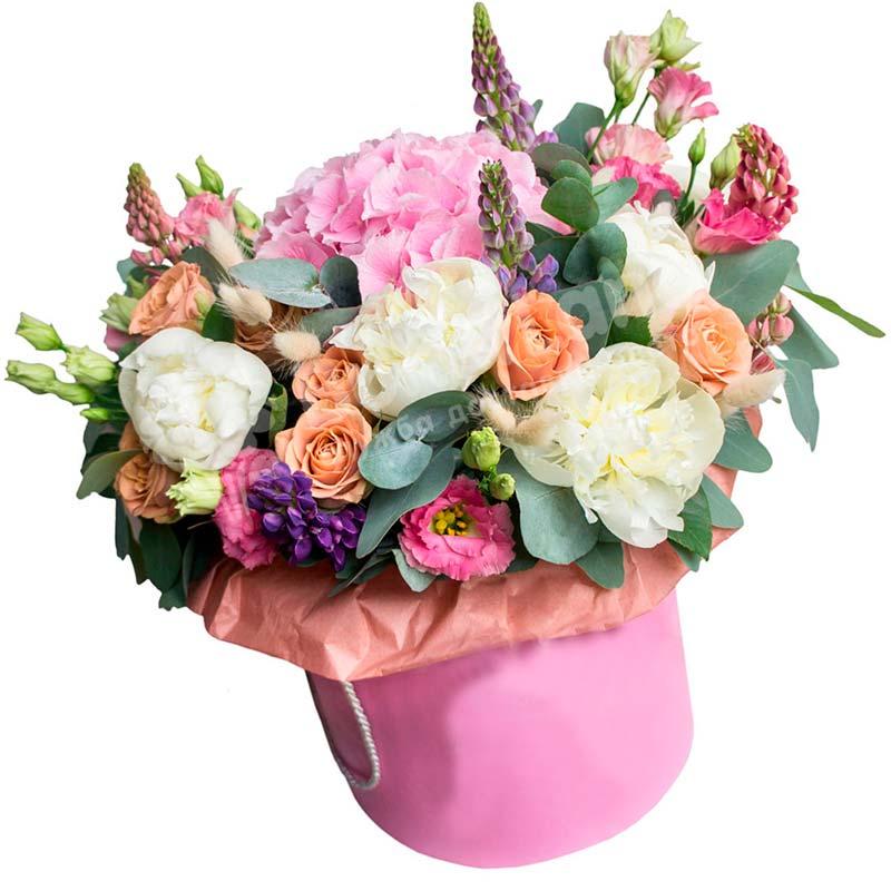 Цветы в шляпной коробке «Эльфийская принцесса»