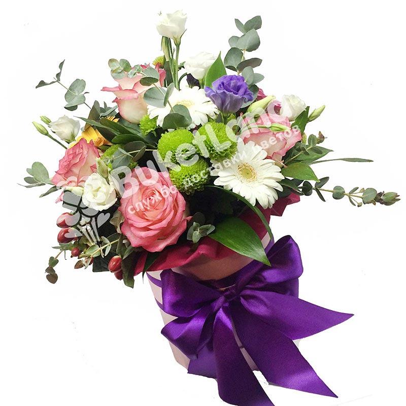 Цветы в шляпной коробке «Инфинити»
