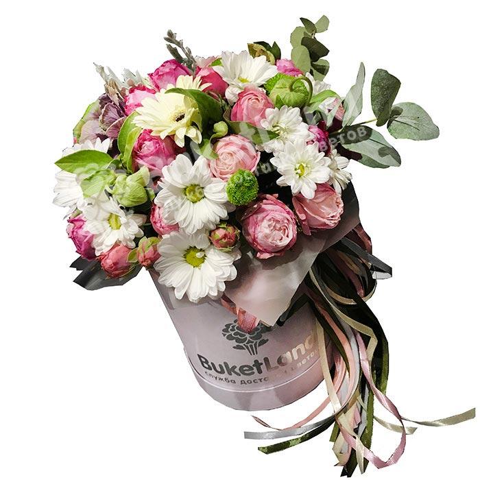 Цветы в шляпной коробке «Искренность»