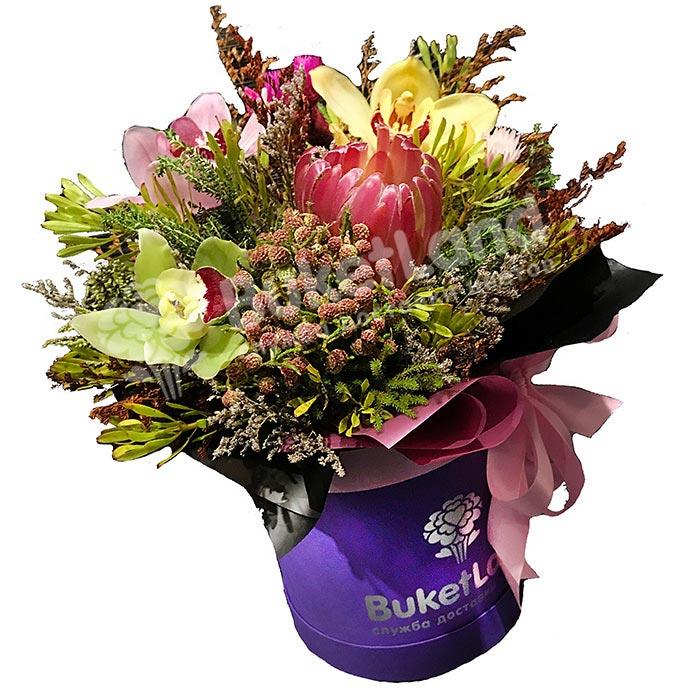 Цветы в шляпной коробке «Сокровище»