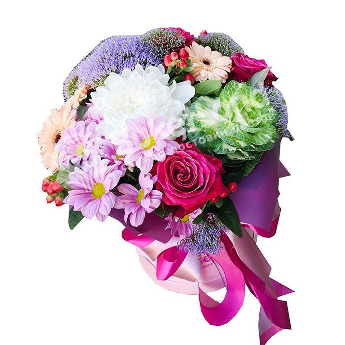 Цветы в шляпной коробке «Тиффани»